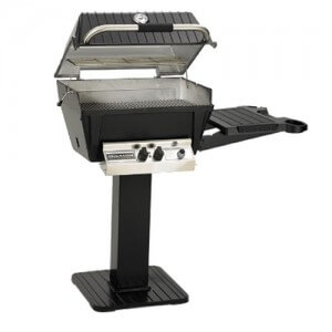 """Broilmaster 24"""" Deluxe H4 Natural Gas Grill Package W/ Patio Post/Base & Side Shelf"""