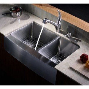 Kraus 33 Inch Farmhouse Apron 60/40 Double Bowl Stainless Steel Kitchen Sink