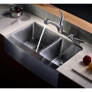 Kraus 33 Inch Farmhouse Apron 60/40 Double Bowl Stainless Steel Kitchen Sink