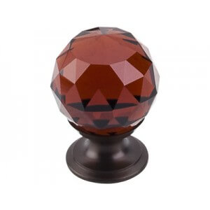 "Top Knobs Additions Collection Wine Crystal Knob 1 1/8"" w/ Oil Rubbed Bronze Base"